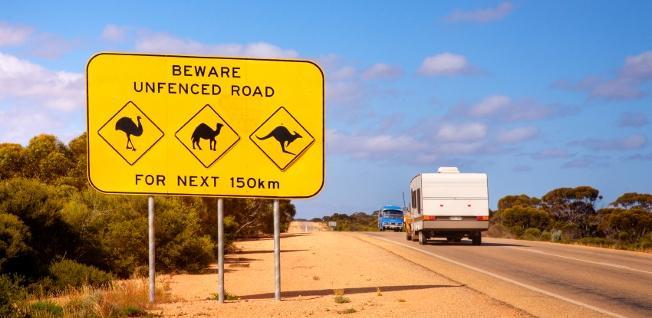 Strassenschild in Australien