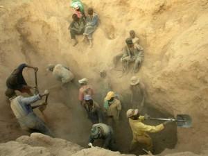 Arbeit in der Diamantmine