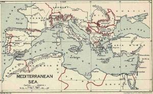 Alte Britische Karte des Mittelmeer