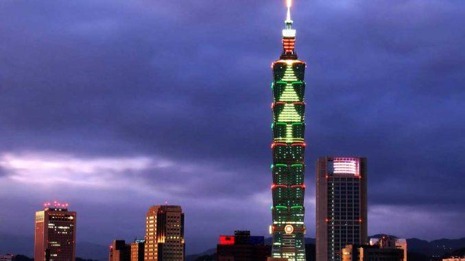 Der Taipeh Tower bei Nacht